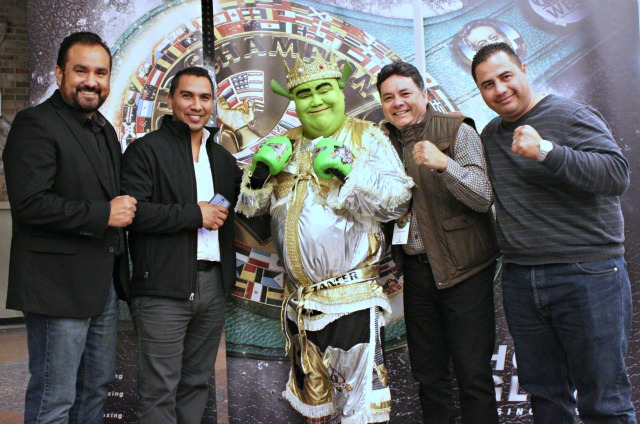 How could these gentlemen be so serious on fight night and here they are clowning around with Tijuana Shrek? (l to r) the seasoned professionals, Tijuana boxing officials (l to r) Carlos Flores, Sergio Lechuga, Leo Bardo Ibarra and Alejandro Garcia.