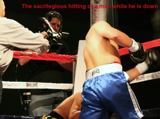 He we see just a sample of the evidence when Alejandro Castaneda hits his opponent Armando Tovar after he is already kneeling down on the canvas.