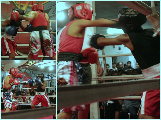 "In Bout #4 it was Julian ""The Mexican"" Rojas (red trunks) doing battle with"