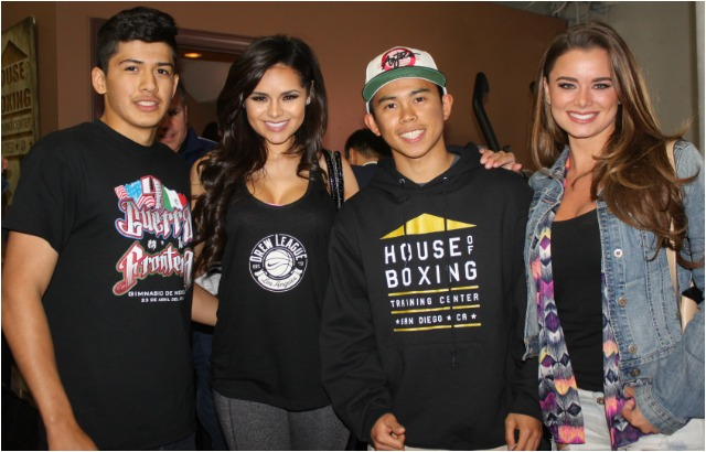 House of Boxing boxers Lazaro Lorenzana (l) and Nico Marchan (r) had an opportunity to meet the ladies representing the Tecate Beer Company, (l to r) Janira Kremets and Dessie Mitcheson, who just happen to be top models in Los Angeles. Photo: Jim Wyatt