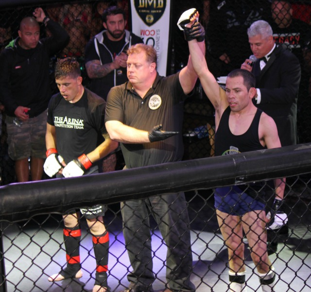 In Bout #1, in the bantamweight class, it was David Lopes (r) getting the win over Rafael Guzman of The Arena in Point Loma.