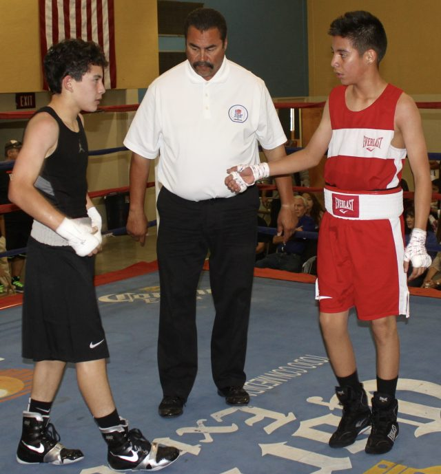 In Bout #7 it was 12-year-old Brannon Lobatos (108.6 pounds, experience: 20 bouts) from F-1, Fighters First Boxing Academy, Buckeye, Arizona coming away with the victory over 13-year-old Francisco Rodriguez (107 pounds, experience: 9 bouts) from the Indio Boys & Girls Club, Indio, Calif.
