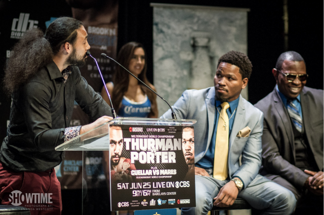 "Keith Thurman, spoke directly to his opponent Sean Porter: ""You know I love you Bro, but on June 25th, my friend is about to become my enemy. I'm doing my best to put you to sleep."" Photo:"