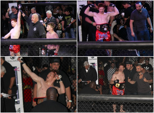 After they announced that he had won and become the new champion, he immediately began struting these different poses
