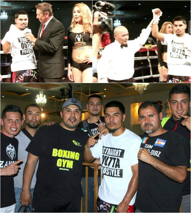 At the conclusion of his bout with Ivan Reyes, the victorious Vicente Portillo Diaz was celebrating with his father, coach and stablemates.