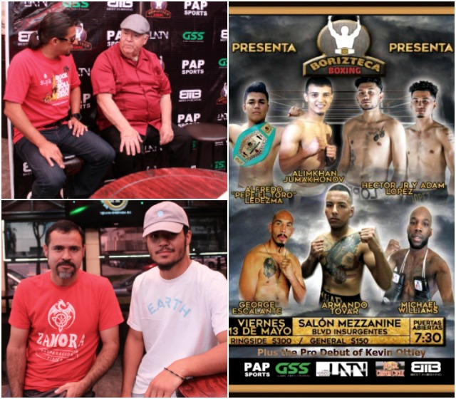 (bottom, left) As of Tuesday's Press Confernce, boxer Vincente Portillo-Diaz, sitting next to his dad J. P. Hernandez, was still holding out for an opponent.