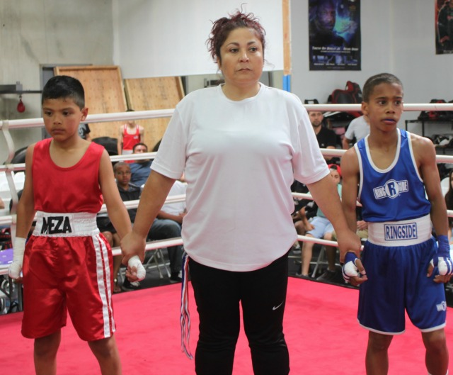 At the conclusion of Bout #2, Jan Carlo Meza o fht e host gym, the bound Boxing Aca