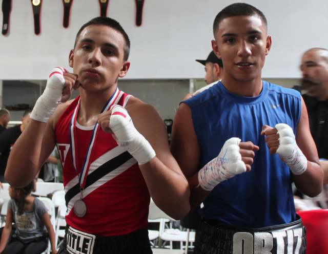 In Bout #21 it was David Ortiz (r) coming away witht eh victory over Isael Quirarte of Baja Boxing, Calexico, Calif.