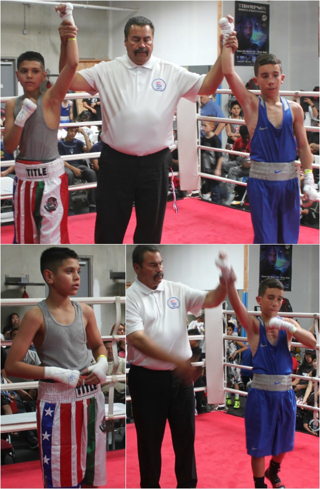 (bottom photo) Amed Medina has his arm raised in voctory after defeating Ethan Mariscal.