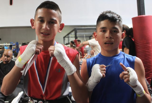 (l to r) Diego Luna of the Bound Boxing Academy and Art barrera of Longbeach, Calif.