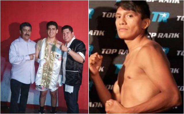 (left) Jorge Marron Jr. is the center of attraction after defeating in his Pro Debut. (right) Pablo Cupul poses for a photo after one of his big wins at the Del Mar Fairgrounds.