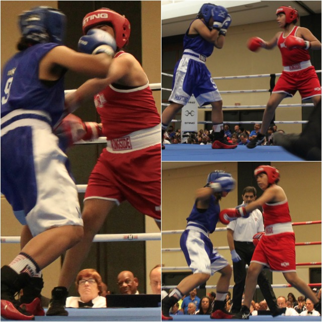 It may have been a tussle at first, but after just a few minutes Roxana Ortiz (red) had her opponent, Alicia Martinez pegged andwaslanding oneleft hook or one straight leftafter another toMartinez'shead. She also became a great escape artist movingback or side to sideavoiding every Martinez punch.