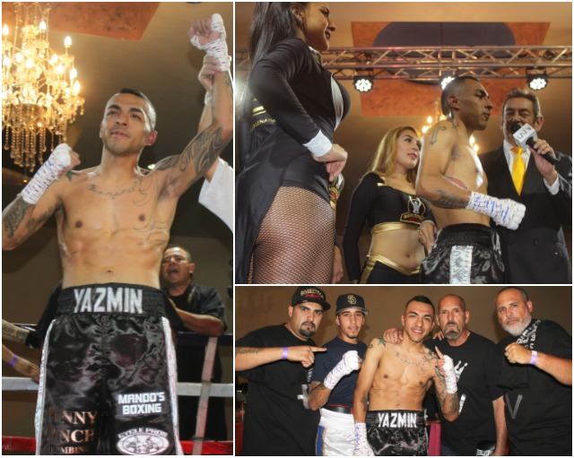 At the conclusion of Bout #1, Valadez has his arm raised in victory, is interviewed by Fernando Paramo and is joined by his support staff of