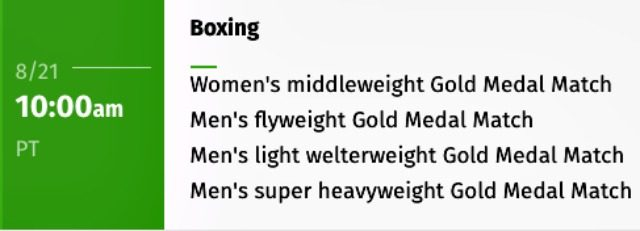 640 Olympic Boxing Schedule - two bot