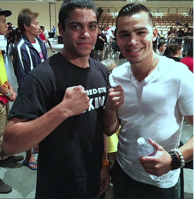 It's like enrolling in the same University. At the 2015 Desert Showdown, lightweight David Mijares (left) of Pasadena, Calif. and super featherweight Genaro Gamez (r) of San Diego pose for a photo together.