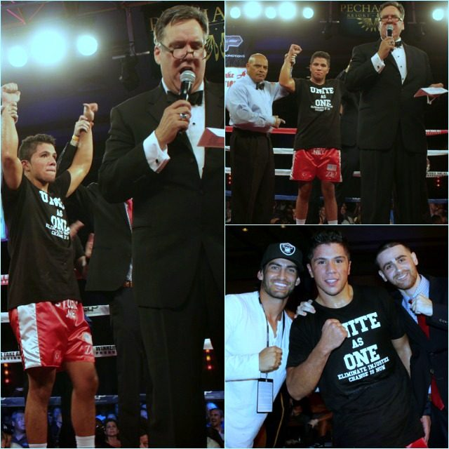 (top, right) Cem Kilic has his arm raised in victory by veteran referee Hernandez Sr.