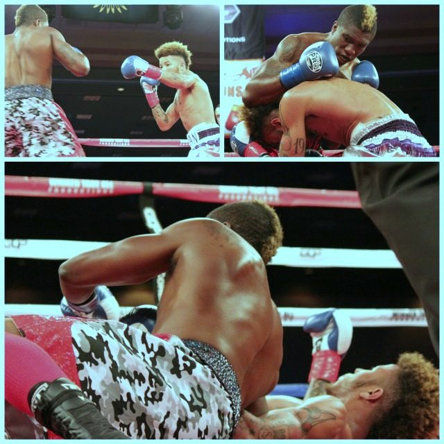 At first Sean Gee tried to rough-house his opponent and as a result the two men ended up on the canvas.