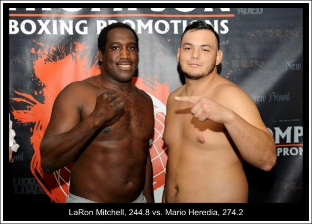 *On Thursday evening we got the news from the weigh-ins held in Ontario, Calif. Heredia weighed-in at 274.2 pounds while his opponent Mitchell weighed 244.8 lbs.