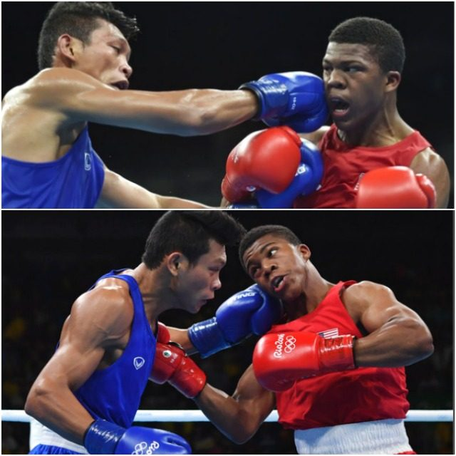 Caption: USA's Gary Russell (r) lands a punch on Thailand's Wuttichai Masuk during their men's light welterweight (64kg) match at the Rio 2016 Olympic Games on August 14, 2016.