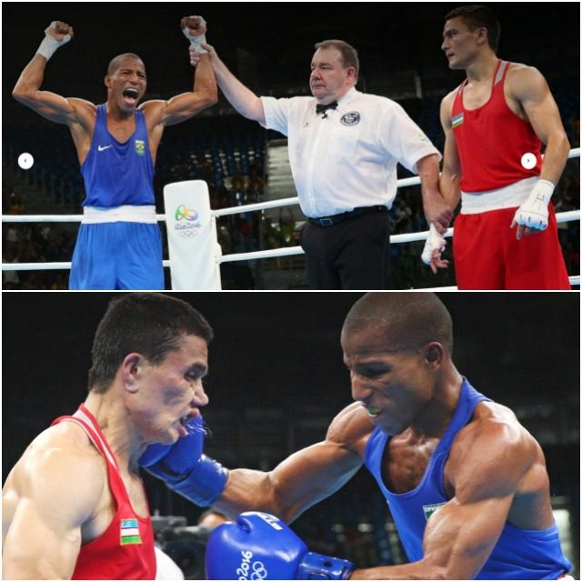 The real deal from Brazil: (top photo, right) Brazil's Robson Conceicao (l) celebrates after his big win over Cuba's Lazaro Jorge Alvarez during the men's Lightweight (60kg) semifinal match at the Rio 2016 Olympic Games at the Riocentro Pavilion 6 in Rio de Janeiro on Sunday, August 14, 2016. Conceicao (l) celebrates after his big win over Cuba's Lazaro Jorge Alvarez during the Men's Lightweight (60kg) Semifinal 1 match at the Rio 2016 Olympic Games at the Riocentro Pavilion 6 in Rio de Janeiro on August 14, 2016.