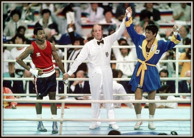The biggest shocker, biggest rip-off in Olympic boxing history occurred in 1988 at Seoul, South Korea when American Roy Jones Jr. was denied his rightful gold medal following a highly controversial decision by the judges. The judges who awarded Jones's Korean rival Park Si-Hun the victory were later suspended after it was discovered they had been wined and dined by South Korean officials.