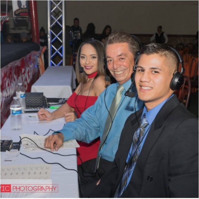 "Friday night's telecast featured the ever-evolving boxing broadcast team of (l to r) pro-boxer Danny ""The Baby Faced Assassin"" Roman to add color commentary, veteran boxing blow-by-blow announcer Fernando Paramo and with the woman's touch it's the lovely Shary Sarmiento. Roman, from Garden Grove, Calif., is the current WBA-NABA super bantamweight title holder."