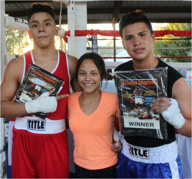 (l to r) Martin Mota, presenter Beyonce Garcia and the victorious Alejandro Casarez.
