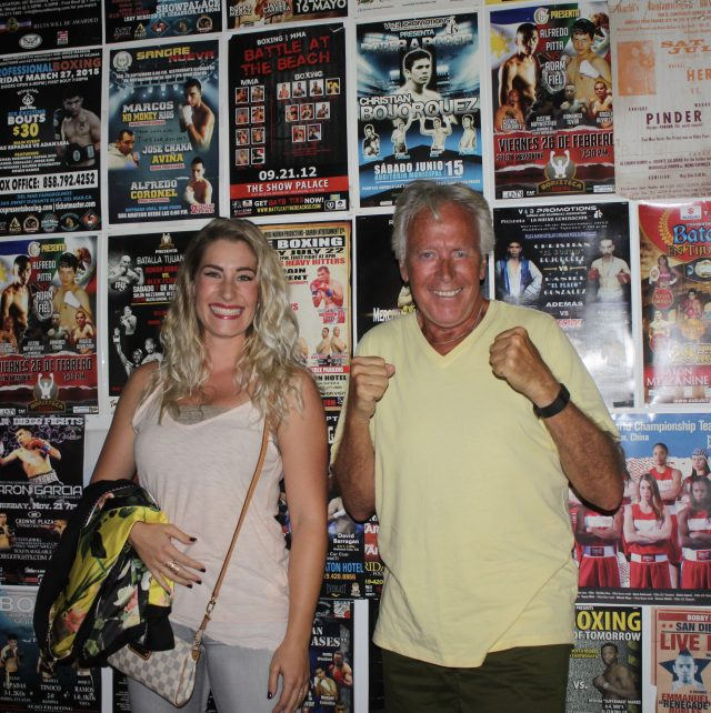 Ulises Sierra's fiance was at the show with her dad who came all the way from Germany. I failed to explain that behind him on the wall were several fight posters that included his future son-in-law.