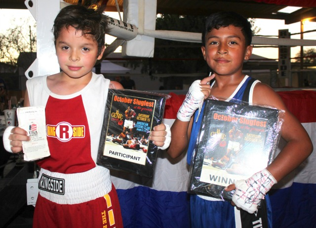 After all the fuss, boxers Jesus Bogorquez (l) and Esau Valerio (r) pose for one last photo.