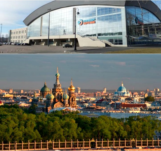 (top) Sibur Arena on in Saint Petersburg, Russia. Hopefully the young boxers had a chance to tour this colorful and wonderous city