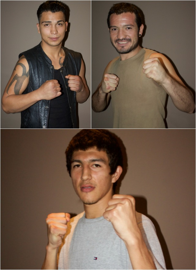 Three of the combatants, (top down, left to right, Isaac Avalos who will be battling Ricardo Valdovinos, Juan Sanchez who will face Adria Gutierrez, and Ramon Madero who will be taking on Edgar Valadez.