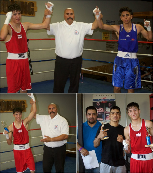 (bottom, left) At the conclusion of bout #11, it was referee Hondo Fontane raising the arm of the voctoriuos Tayden Beltran.