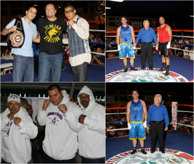 If your a San Diego Boxing fan you should have no problem naming the individuals in the above photo collage. Here's an assist: above we have a slightly younger David Rodriguez, Calif. Boxing Hall of Famer's referee Pat Russell and promoter Bobby Dephilippi, pro boxers Chris Martin and Antonio Orozco. Coach